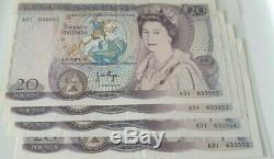 4 X £20 Page Purple Banknote Consecutive Numbers Extremely Fine 1970-80 B328