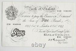 B255 Peppiatt 1944 White £5 Note E30 In Extremely Fine Or Better Condition