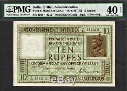 British India 10 Rupees (1917-30) Sign Denning Pick-6 Extremely Fine PMG 40 EPQ