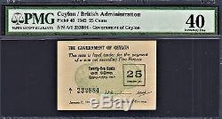 Ceylon 25 Cents 1942 Pick-40 Extremely Fine PMG 40 Rare