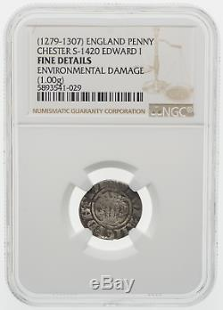 ENGLAND. Edward I 1272-1307. Silver Penny, Extremely Rare Chester mint, NGC Fine