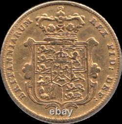 Extremely Rare 1827 George IV Bare Head Half Gold Sovereign Very Fine