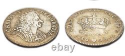 Extremely Rare, Very Fine 1694 Denmark Silver 1 Krone, Christian V Coin KM#428