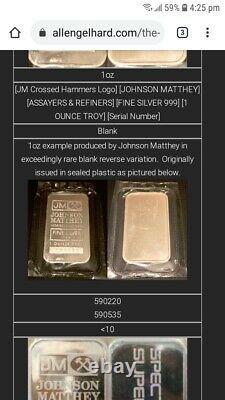 Extremely Ultra Rare JM Johnson Matthey 1oz 999 Fine Silver Ingot Bullion Bar