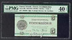 FAEROE ISLANDS 1949 5 KRONUR DENMARK BANKNOTE PICK#13b PMG 40 Extremely Fine
