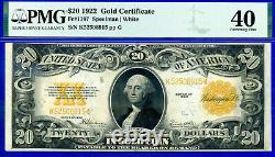 FR-1187 1922 $20 (Gold Certificate) PMG Extremely Fine 40 # K52508915