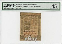 FR. PA-170 October 1, 1773 50s Pennsylvania Colonial Note PMG Extremely Fine 45