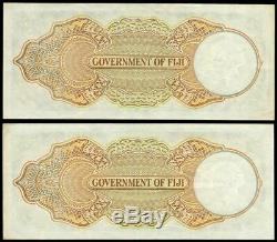 Fiji 1951 Five Shillings Consecutive Pair B/9 11074-75 Extremely Fine