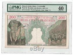 French Indochina 200 Piastres 1953 Pick# 98 Pmg-40 Net Extremely Fine (#842)