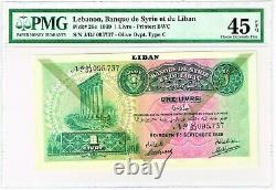 Lebanon 1 Livre 1.9.1939 Pick 26c. PMG Choice Extremely Fine 45 EPQ