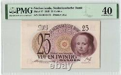 Netherlands 25 Gulden 1945 Girl in Blue Pick 77 PMG Extremely Fine 40