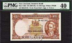 New Zealand 10 Shillings Wilson (1955-56) Prefix 0K P-158b Extremely Fine PMG 40