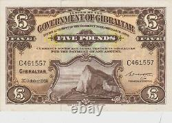 P16c GIBRALTAR FIVE POUNDS BANKNOTE IN NEAR EXTREMELY FINE CONDITION DATED 1958