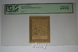 Pennsylvania April 10, 1777 3d PCGS Extremely Fine 45PPQ