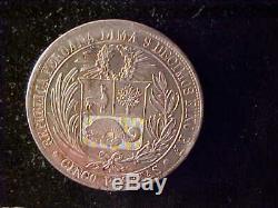 Peru 5 Pesetas 1880 No Dot Extremely Fine