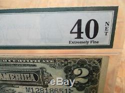Pmg 1899 Parker Burke $2 Two Dollar Bill Extremely Fine 40