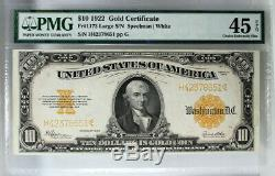 Pmg Choice Extremely Fine 45 Epq Series 1922 $10 Gold Certificate Fr. 1173 Xf45