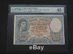 Poland 1919- 100 Zlotych -bank Polski Extremely Fine 45 Pmg Net-rare Note