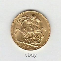 Rare Very Small Jeb 1887 Jubilee Head Gold Sovereign Extremely Fine Condition