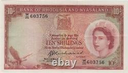 Rhodesia & Nyasaland 11.1.1961 10 Shillings Richards Pick#21b25 Extremely Fine W