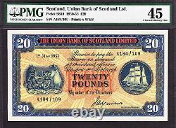 Scotland Union Bank 20 Pounds 1st May 1953 Pick-S818 Extremely Fine PMG 45
