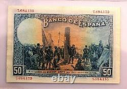 Spain-Billete. Alfonso XIII 50 Pesetas 1927. Certificado PMG. 40 EXTREMELY FINE