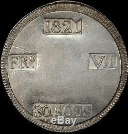 Spain (Majorca) 1821 Silver 30 Sueldos C# L53.1 Extremely Fine