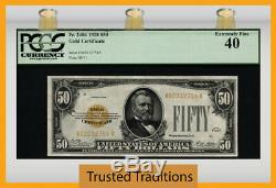 Tt Fr 2404 1928 $50 Gold Certificate Grant Gold Seal Pcgs 40 Extremely Fine
