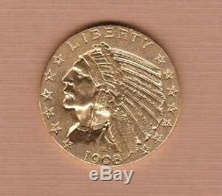 USA 1908d Gold Indian Head Five Dollar In Extremely Fine Condition