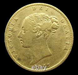 Victoria 1862 Young Head Gold Half Sovereign Extremely Rare Good Fine