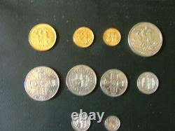 Victoria, 1887 Extremely Fine Currency Set, Gold Two Pounds To Threepence